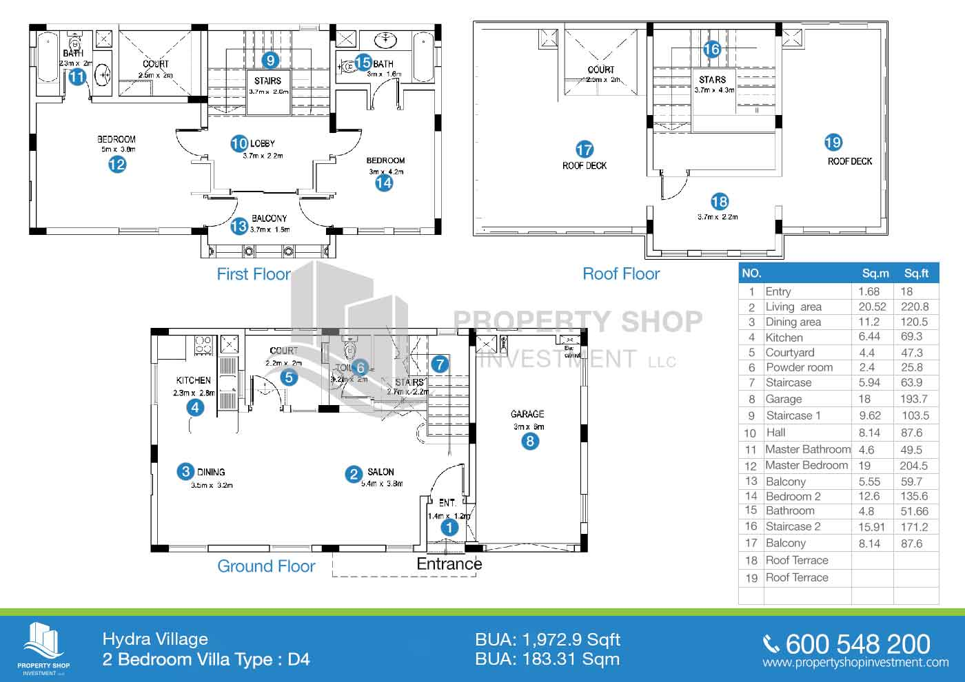 Hydra Village Abu Dhabi Diagram Labeled Pictures 2 Bedroom Villa Type D4 Area 19729 Sqft