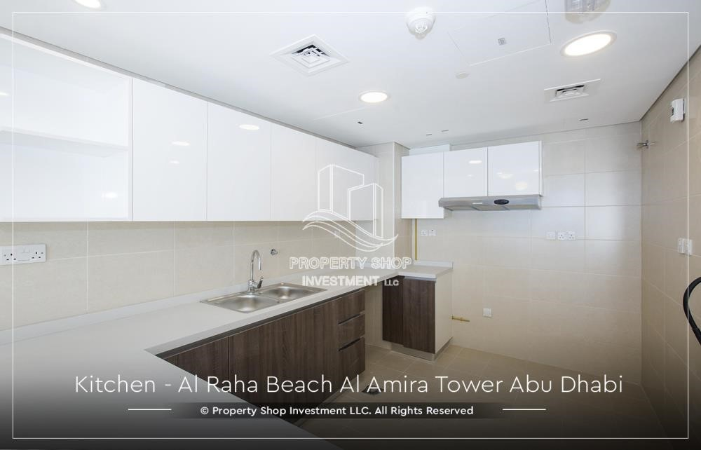 Kitchen - Best price for 3BR  Apartment Al Raha Beach
