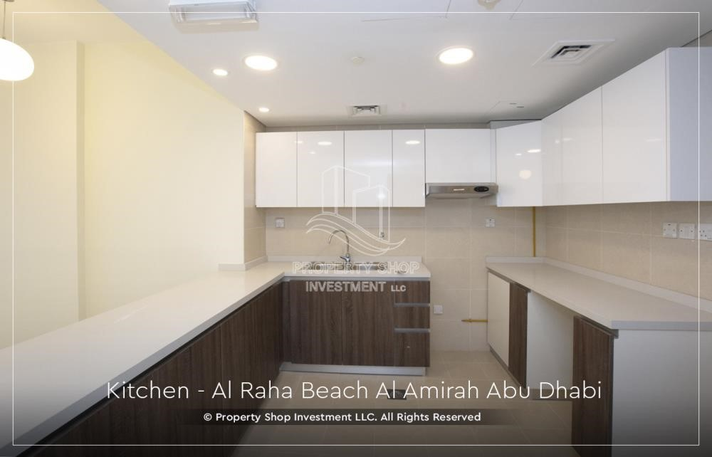 Kitchen - Brand New 2BR + Maid's room apartment in Al Raha Beach