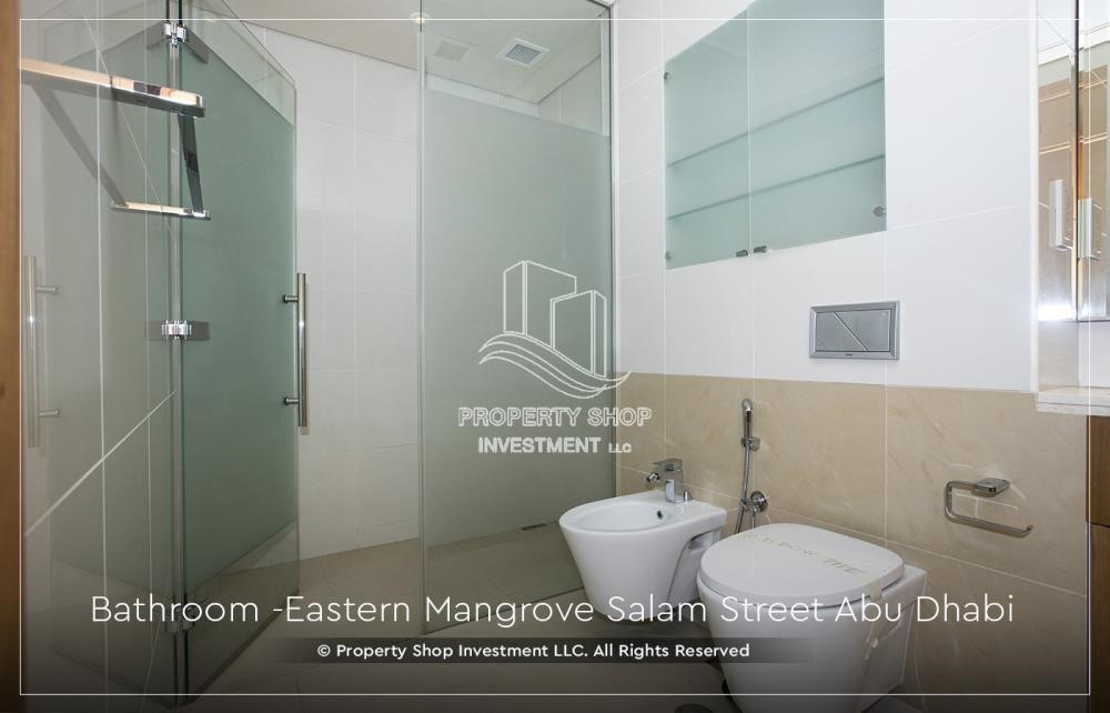 Bathroom - Elegant, Stunning 1BR Apartment with Mangrove View, Pool, Gym