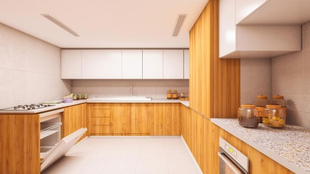 Kitchen - Explore Comfort in a Spacious 2+1BR Overlooking Mangroves, Reem Central Park & Facilities