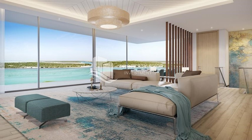 Living Room-Get a chance to own a property in a luxurious community in Mayan, Yas Island.