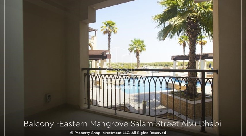 Balcony-Elegant, Stunning 1BR Apartment with Mangrove View, Pool, Gym