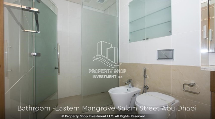 Bathroom-Elegant, Stunning 1BR Apartment with Mangrove View, Pool, Gym