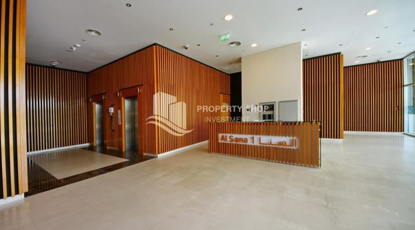 Lobby-High floor 1 BR apt with well maintained facilities of Al Sana, Al Muneera