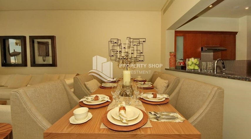 Dining Room-2BR Apt on Low Floor with street view in Saadiyat Island!
