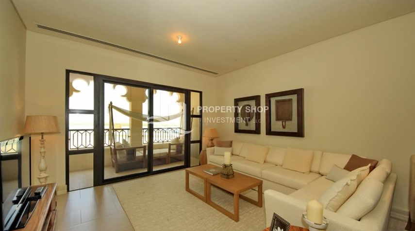 Living Room-2BR Apt on Low Floor with street view in Saadiyat Island!