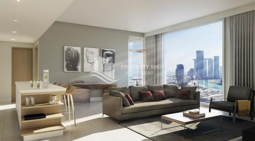 Living Room-3BR+M Apt in a brand new tower in Reem Island.