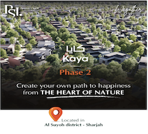 Invest in the finest residential complexes in the green heart of Sharjah with 5% down payment in the second phase of Kaya